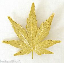 NEW 100% REAL NATURAL JAPANESE MAPLE LEAF DIPPED IN GOLD BROOCH PIN AND PENDANT