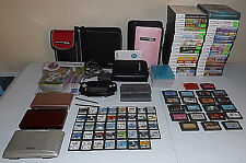 Huge Lot Nintendo DS Lite 94 Games 5 Cases 2 Stylis 1 Power Cord Game Holders