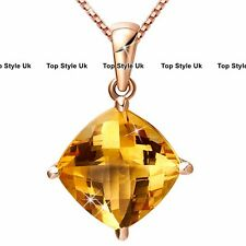 Citrine champagne Diamond Pendant Rose Gold Necklace Gifts for her Women Wife J1