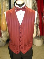 Mens Formal Vest Burgundy Size Medium Matching Bow Tie Included