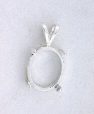 8x6 8mm x 6mm Oval Cab Cabochon Gem Pendant Sterling Silver Prenotched  Mounting