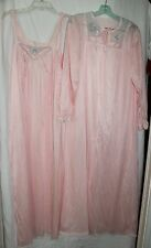 VINTAGE JC PENNEY WOMEN'S PINK EMBROIDERED FLOWERS LONG NIGHTGOWN ROBE SET LARGE