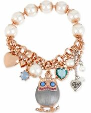 Betsey Johnson Silver Rose Gold-Tone Owl Mixed Charm Half Stretch Bracelets