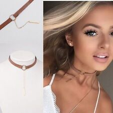 HOT Women's 10mm Tan Suede Velvet Choker Necklace Circle Pendent Charm Jewelry