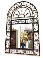 "Moroccan Forged Wrought Iron Wall Mirror Sun Arch Design 29"" x 18"""