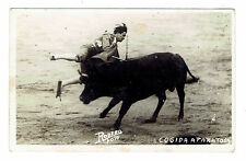 COGIDA A PAPATOSA Spanish Matador Rodero Photo 1930s RPPC real photo post card