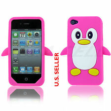 Pink Cute Penguin Soft Gel Rubber Silicone Skin Case Cover for Apple iPhone 4 4S