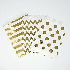 48 Chevron Polka Dot Stripe Metallic Gold Food Candy Treat Favor Bags 5x7 Party