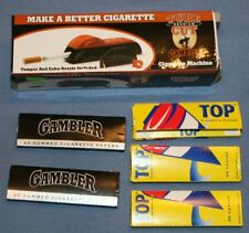 Gambler Tube Cut Cigarette Machine & 5 Packages of papers Lot Cutter Smoking