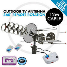 NEW 48km Outdoor Digital TV Antenna Signal booster Rotating Aerial HDTV UHF VHF
