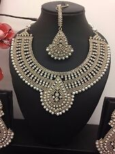 Indian Bollywood Manjoos Bridal Party Silver Pearl Jewellery Necklace Set