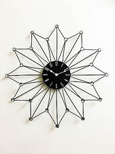 50cm Clear Diamante Beaded Jeweled  Black Metal Spikes Sunburst Wall Clock New
