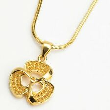 """Hot 18k Yellow Gold Filled Charms Pendant 18"""" Link Vogue Chain Women's Necklace"""