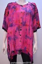 PLUS SIZE TIE DYE FLORAL EMBROIDERED TUNIC TOP PURPLE 16 18 20 22 24 26 28
