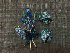 Vintage Weiss Brooch Pin With Clip On Earrings Peacock Theme 3 Pc