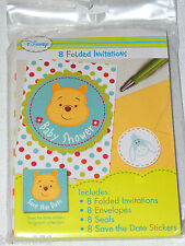 BABY  ~WINNIE THE POOH~ 8 BABY SHOWER INVITATIONS W/ENVELOPES  --   PARTY