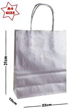 5 x Silver Paper Party Gift Bags ~ Boutique Shop Loot Carrier Bag - SIZE A4