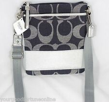 NEW RARE Coach Denim Navy Blue Signature Stripe Crossbody/Swingpack Shoulder