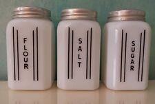 RARE VTG Mckee Parallel Vertical Line Custard Milk Glass Shakers Black & White