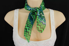 Women Fashion Bright Green Neck Scarf Fabric Black Chevron Print Pocket Square