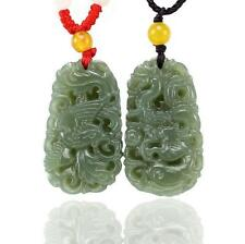 natural green jade dragon Phoenix good luck gift Couples charm Pendants necklace
