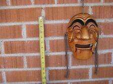"""Vintage 8"""" x 6"""" Korean Style Hand Carved Wooden Mask KOREA"""