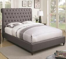 GRAY BUTTON TUFTED QUEEN SLEIGH PLATFORM BED BEDROOM FURNITURE