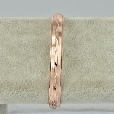 Korean Jewelry Womens 14K Rose Gold Plated Wide Fashion Bangle Bracelet