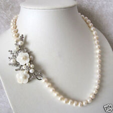 """Beautiful Natural 7-8mm White Freshwater Pearl Necklace Shell Flower Clasp 20 """""""