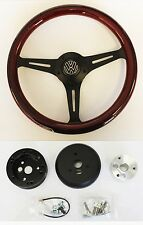 "74-93 VW Volkswagen Wood Steering Wheel on Black Spokes 13 3/4"" VW center cap"