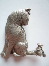 """Vintage Signed JJ  """"Silver pewter Mouse on Cats Tail"""" Brooch/Pin"""