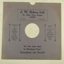 "record sleeve for 78rpm 12"" gramophone disc : J W SYKES , LEEDS"