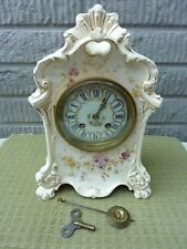 Antique ROYAL BONN Porcelain Mantel Clock - Japy Freres Movement