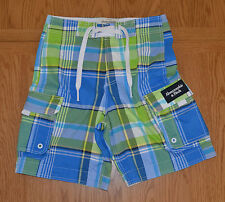 "Abercrombie & Fitch Goodnow Mountain Swim Board Shorts Green Plaid XS 28"" £64"