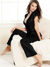 Ladies Satin Silk Pyjama Set Silky Lounge Wear Pyjamas Long Dressing Gown UK8-10
