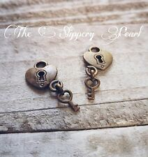 Heart Lock and Key Charms Pendants Antiqued Bronze Lock Charms Steampunk 10pc