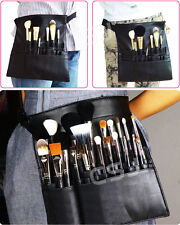 Cosmetic Makeup Brush Bag Apron with Artist Belt Strap Case 22 Pockets Black