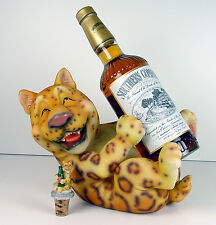 Adorable Leopard Ocicat Spotted Cat Wine Liquor Holder Matching Topper NIB CuTE!