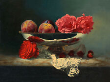 """Large oil painting beautiful still life roses flowers & peach Strawberries 36"""""""
