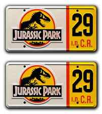 Jurassic Park / Hammond's Jeep / #29 *STAMPED* Replica Prop License Plate Combo