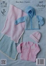 KNITTING PATTERN Baby Long Sleeve Hooded Check Jacket Chunky King Cole 3857