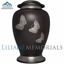 Black, Butterflies - Brass Funeral Cremation Urn,  Adult, 200 cubic inches