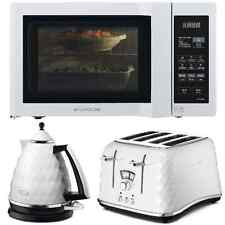 White DeLonghi Brillante Kettle & Toaster + Duo-Plate Microwave Kitchen Set NEW