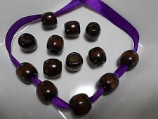 30pcs 16mm x 15mm WOODEN Pony Drum Wood Beads - DARK BROWN ( Large Hole 7mm )
