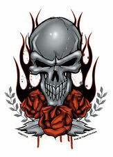 """Flame Skull Sticker 4.75""""x 6"""" Silver skull and red rose"""