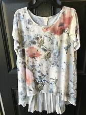 New Rare Chico's Free Floral Pleated Woven Back Tunic Top Shirt 3 = XL 16/18 NWT