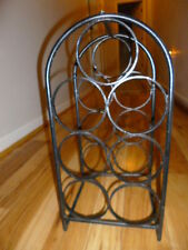 Vintage HEAVY Thick Wrought Iron Wine Rack Bottle Holder Stand Storage Area-EUC