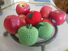1 Hand Crochet  APPLE pretend PLAY FOOD amigurumi TODDLER FUN TOY Red or Green