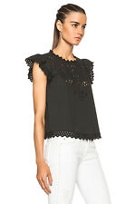 ISABEL MARANT ETOILE Silo Top Black Cotton Eyelet Cap Sleeve Cropped Blouse 38/6