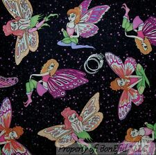 BonEful Fabric FQ Cotton Quilt Black Pink Butterfly Fairy Gothic Fantasy Girl US